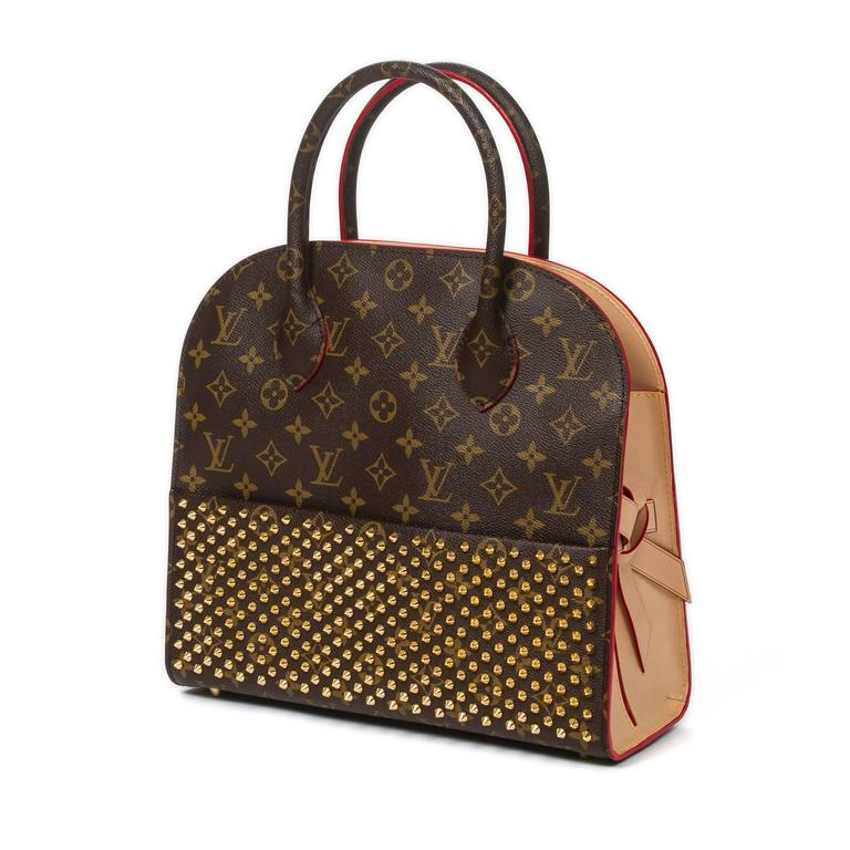 Louis Vuitton's 160th anniversary celebration Iconoclast Collection. Shopping bag by Christian Louboutin in monogram canvas with gold tone studded front slip pocket, red pony hair back side and vachetta leather sides adorned with a bow. Vachetta