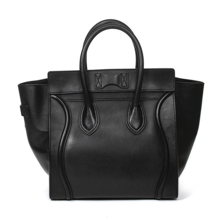 Luggage Tote Mini Black Leather For Sale 1