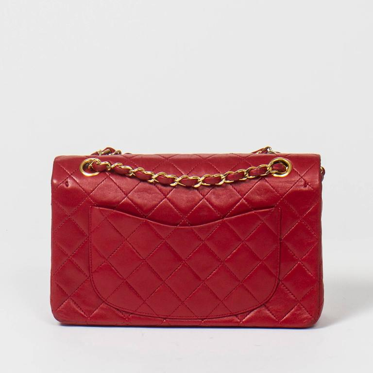 Chanel Classic Double Flap 23cm Red Quilted Leather For Sale 1