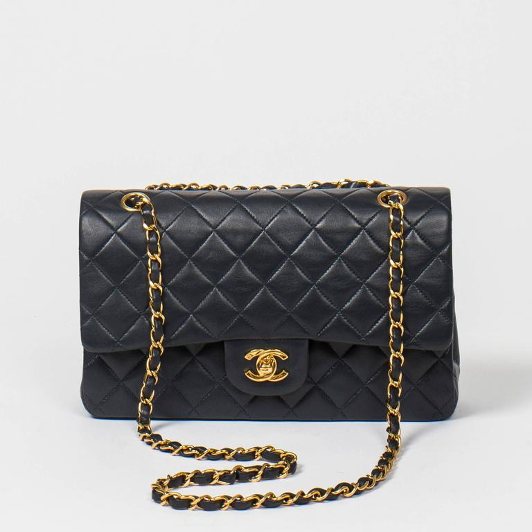 Chanel Classic Double Flap 26cm Navy Leather 7