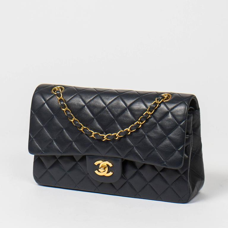Chanel Classic Double Flap 26cm Navy Leather 2