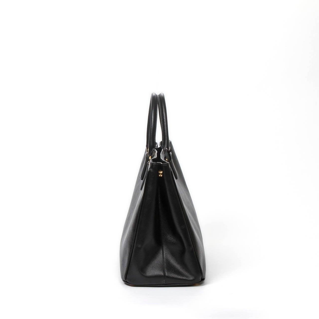 Prada Saffiano Lux Handbag Black at 1stdibs