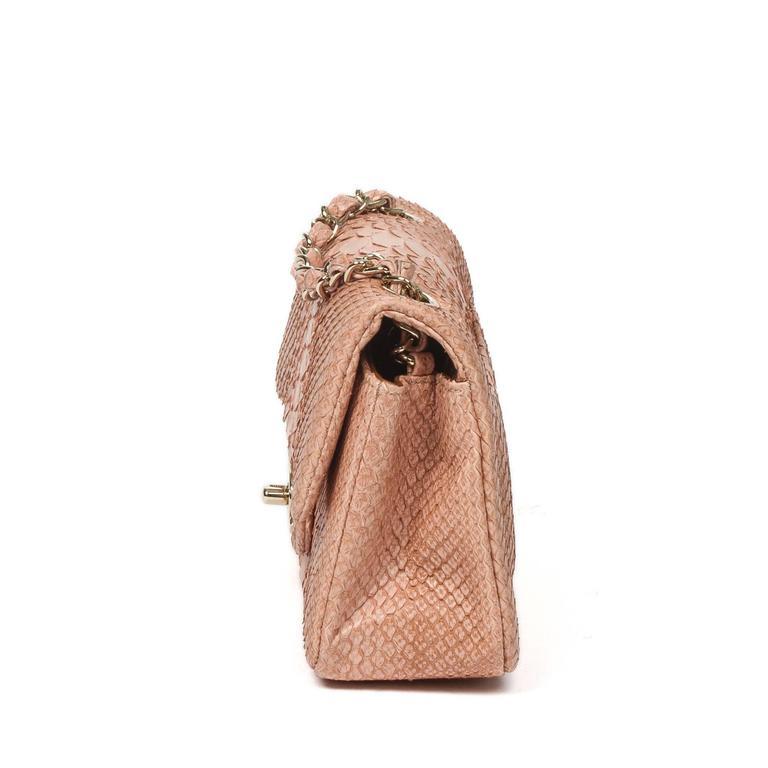 Beige Mini Flap Bag Soft Pink Python For Sale
