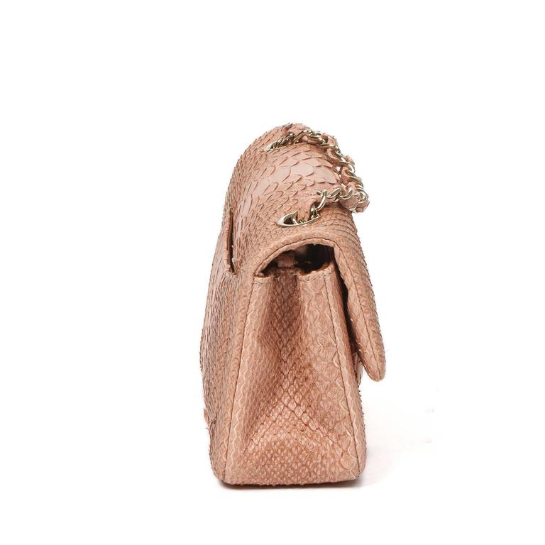 Mini Flap Bag Soft Pink Python In Excellent Condition For Sale In Dublin, IE