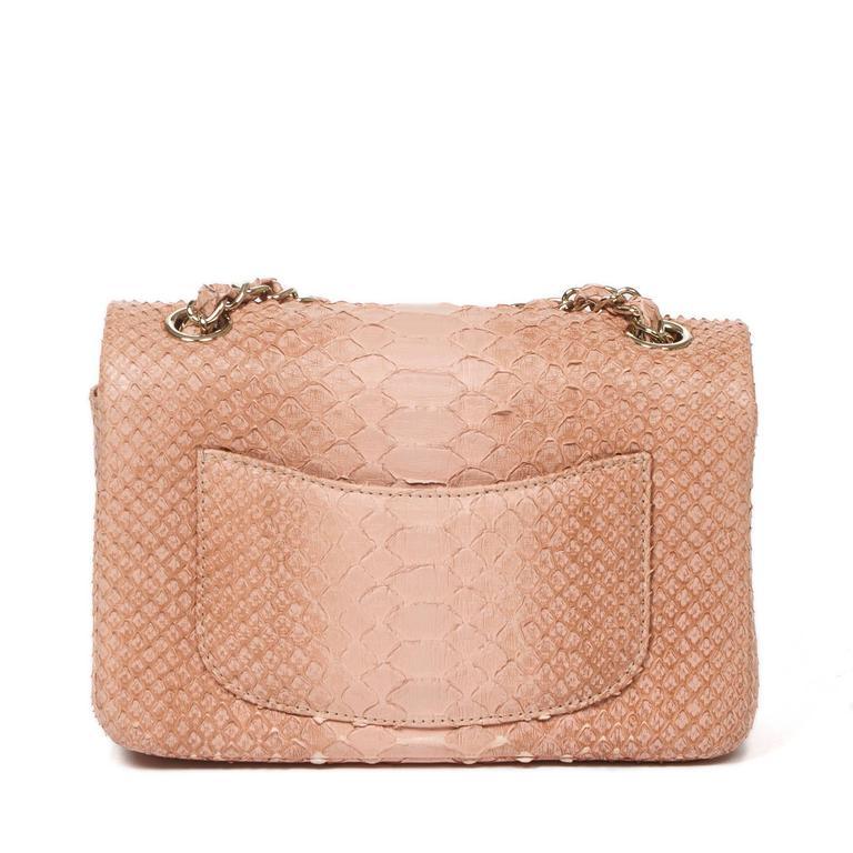 Women's Mini Flap Bag Soft Pink Python For Sale