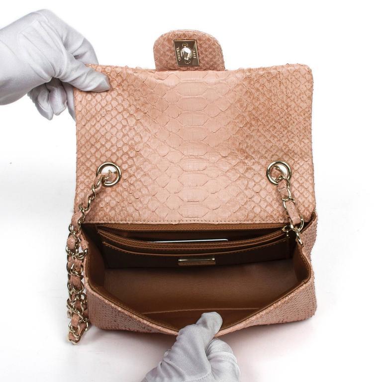 Mini Flap Bag Soft Pink Python For Sale 1