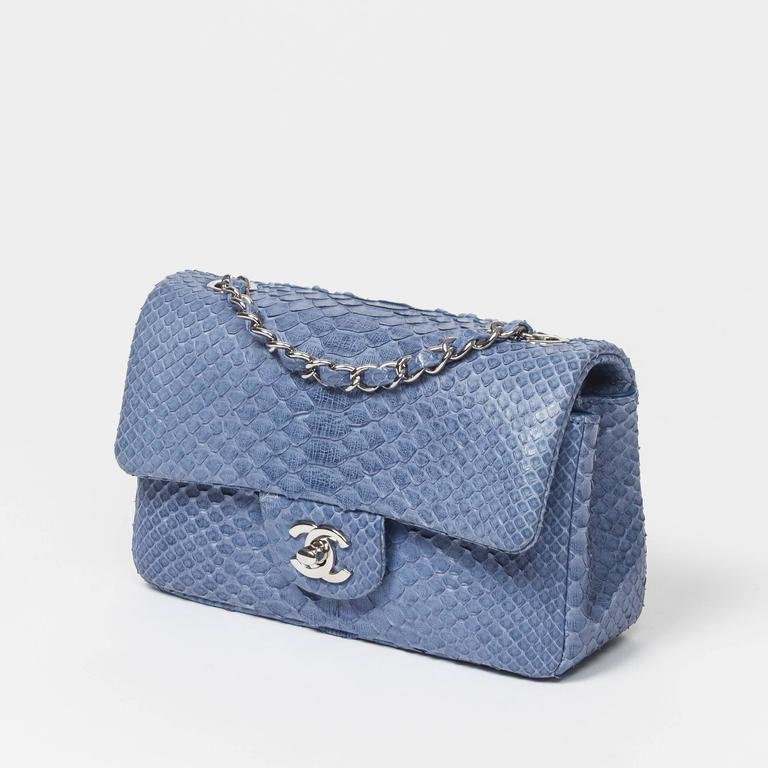 Chanel Mini Flap Powder Blue Python In Excellent Condition For Sale In Dublin, IE
