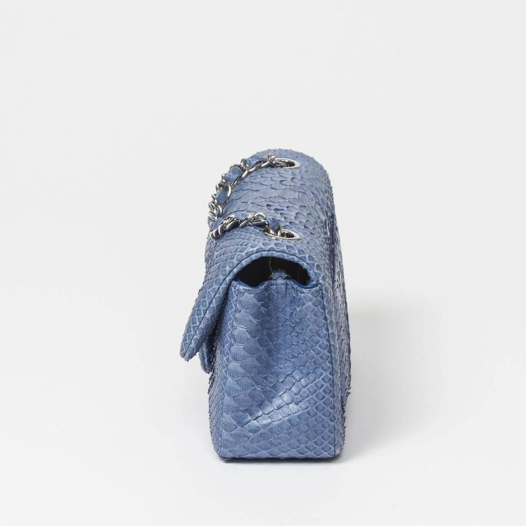 Women's Chanel Mini Flap Powder Blue Python For Sale