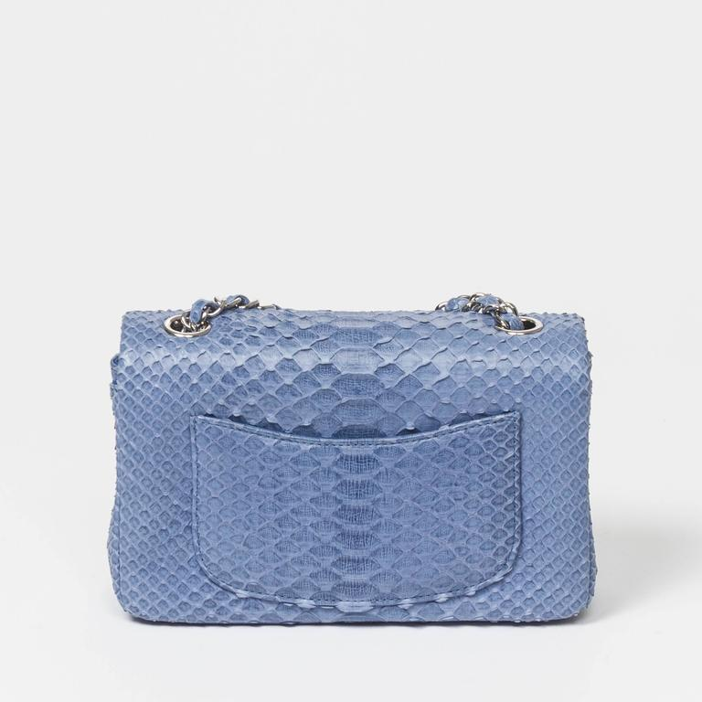 Chanel Mini Flap Powder Blue Python For Sale 2