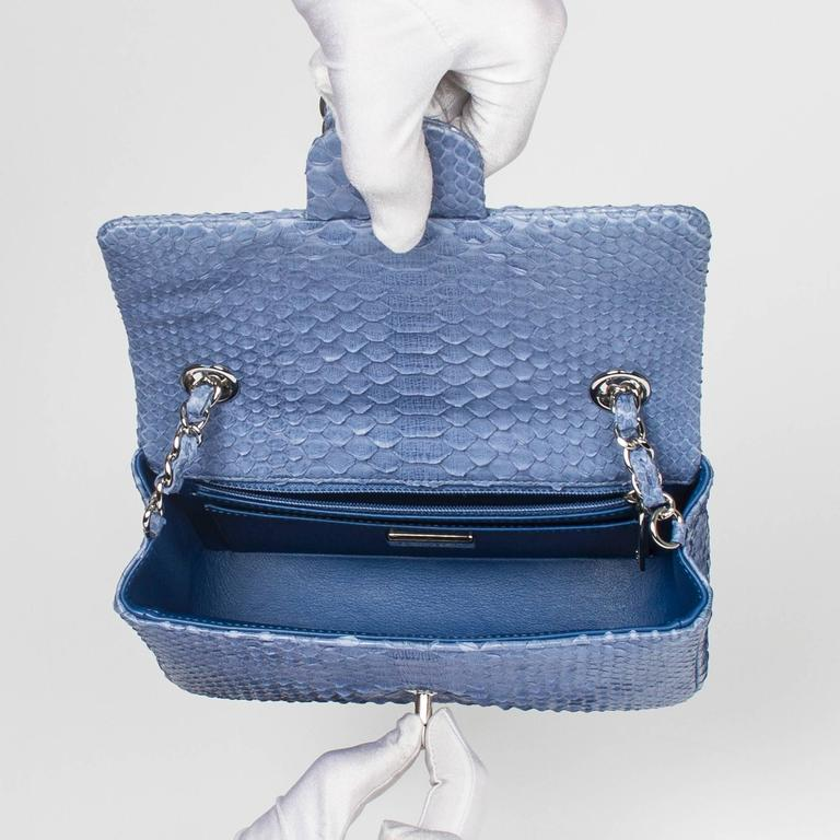 Chanel Mini Flap Powder Blue Python For Sale 3