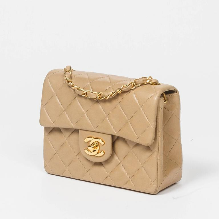 Chanel Classic Mini Flap Bag Beige Quilted Leather 2