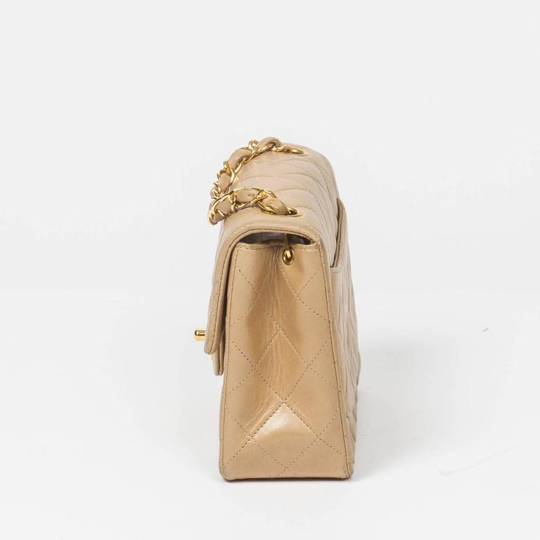 Chanel Classic Mini Flap Bag Beige Quilted Leather In Excellent Condition For Sale In Dublin, IE