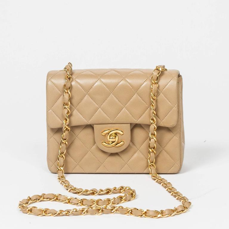 Chanel Classic Mini Flap Bag Beige Quilted Leather 5
