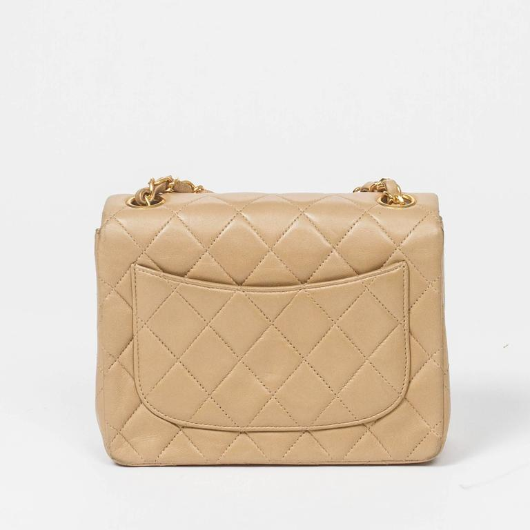 Chanel Classic Mini Flap Bag Beige Quilted Leather 7