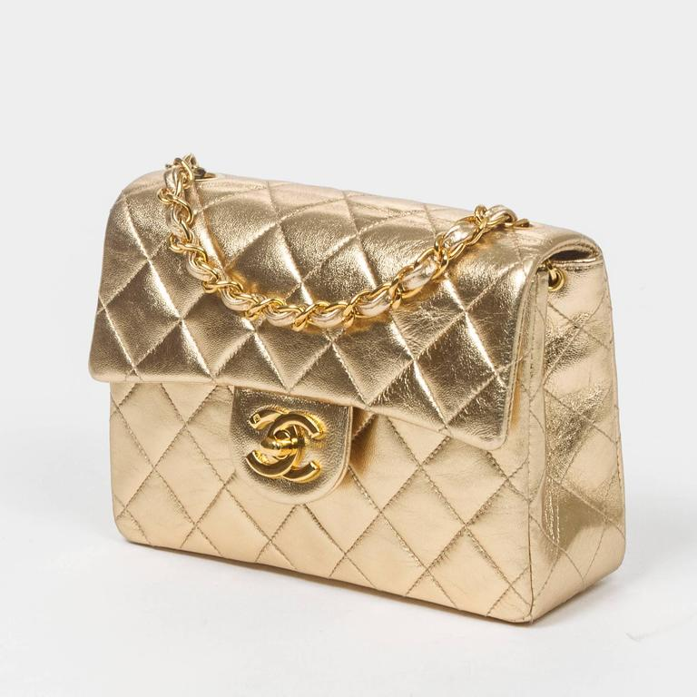 Chanel - Classic Mini Flap Metallic Gold Quilted Leather 2