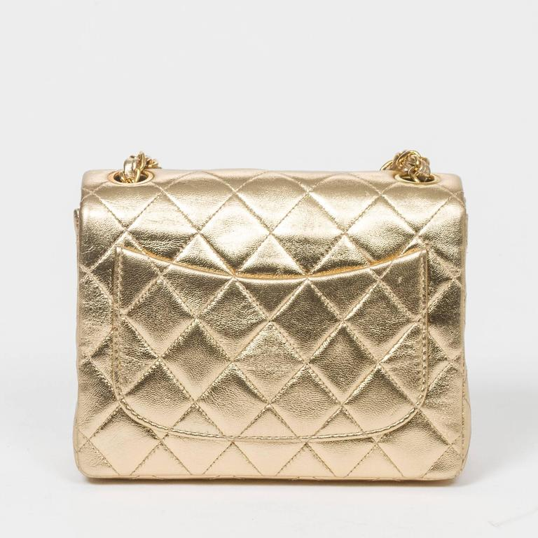 Chanel - Classic Mini Flap Metallic Gold Quilted Leather 5