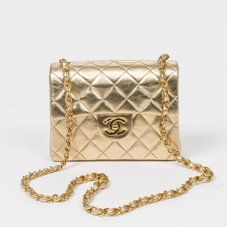 Chanel - Classic Mini Flap Metallic Gold Quilted Leather 7