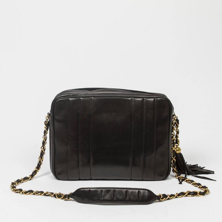 Chanel - Vintage Tassel Shoulder Bag Black Vertical Quilted Leather 5
