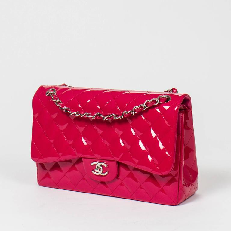 Chanel - Jumbo Fuschia Pink Quilted Patent Leather 2