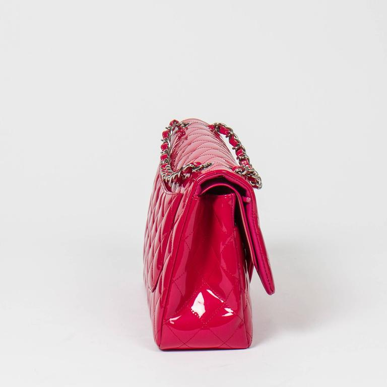 Chanel - Jumbo Fuschia Pink Quilted Patent Leather 4