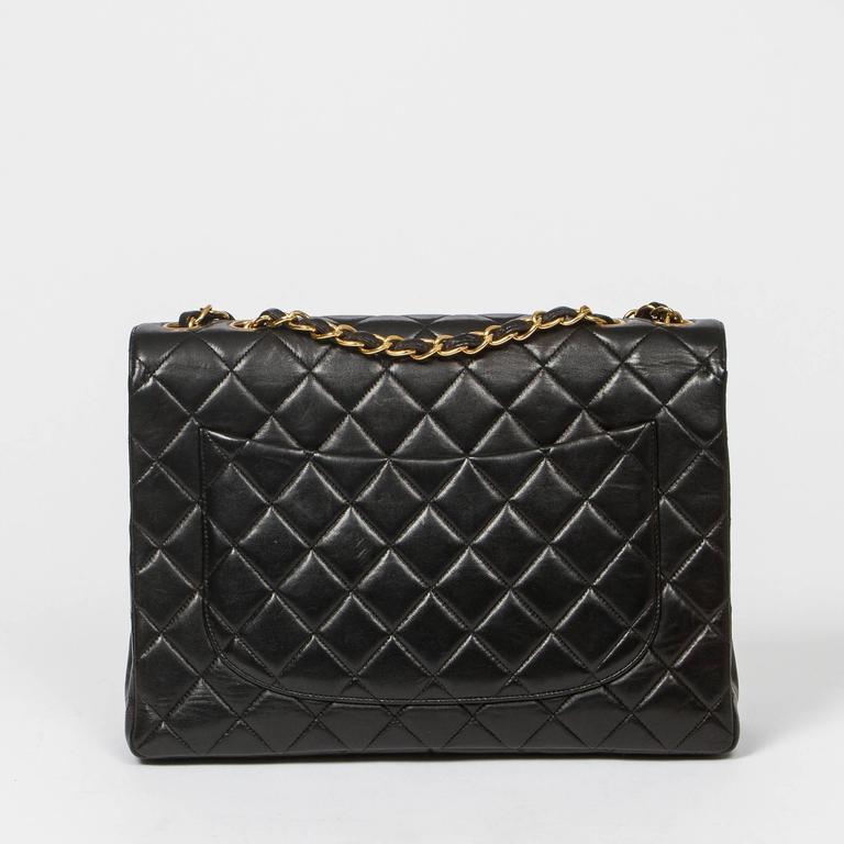 Chanel Jumbo Black Leather For Sale 1