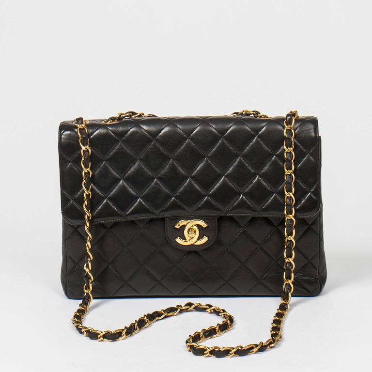 Chanel Jumbo Black Leather For Sale 3