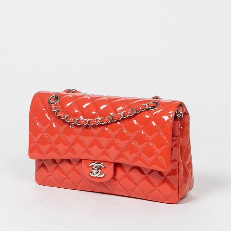 Chanel Classic Double Flap 26 Quilted Coral Pink Patent Leather 2