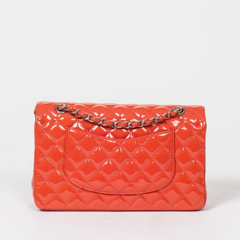 Chanel Classic Double Flap 26 Quilted Coral Pink Patent Leather 5