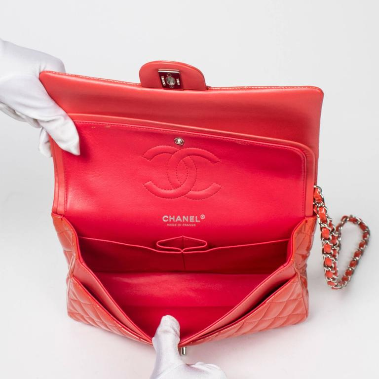 Chanel Classic Double Flap 26 Quilted Coral Pink Patent Leather 6