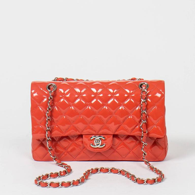 Chanel Classic Double Flap 26 Quilted Coral Pink Patent Leather 7