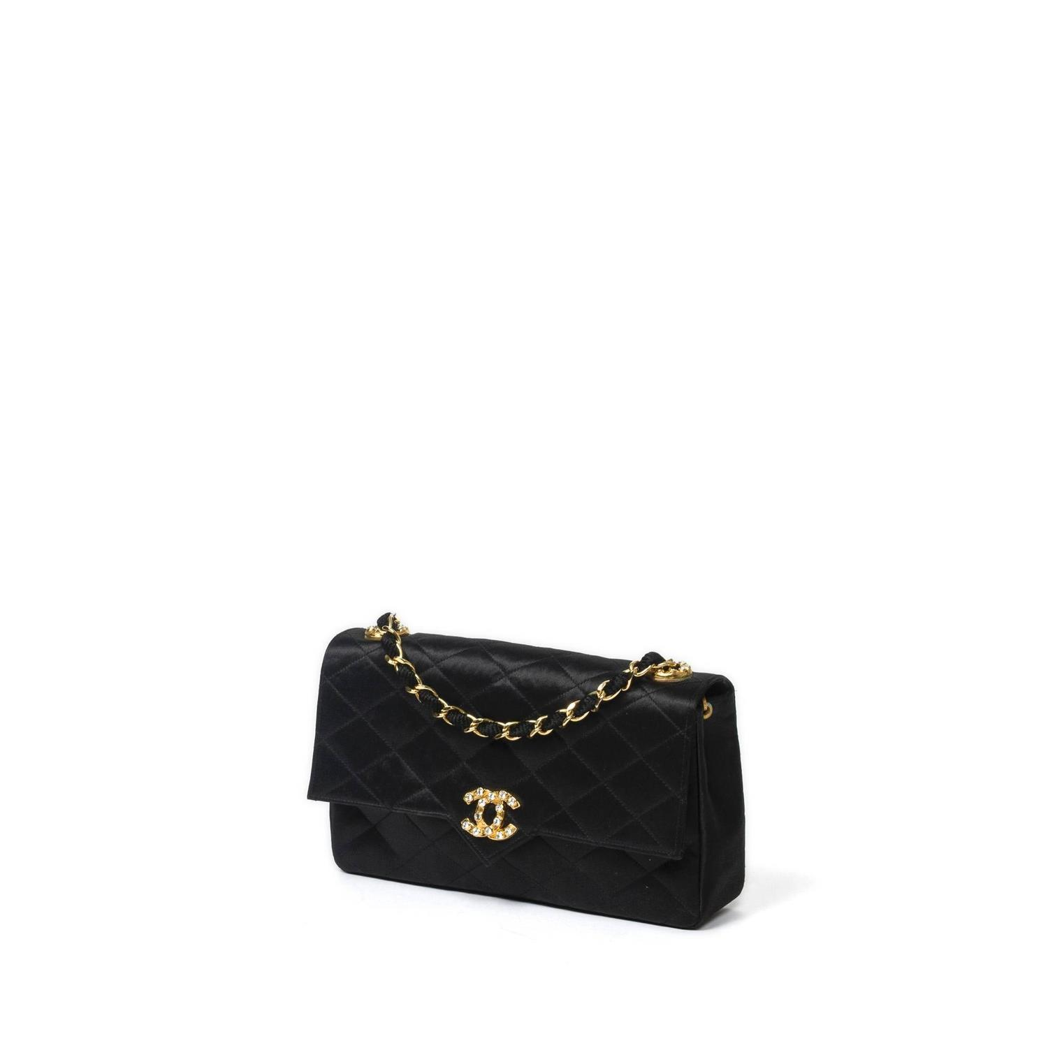 Chanel Vintage Strass Pouch 22cm Black Quilted Silk At 1stdibs