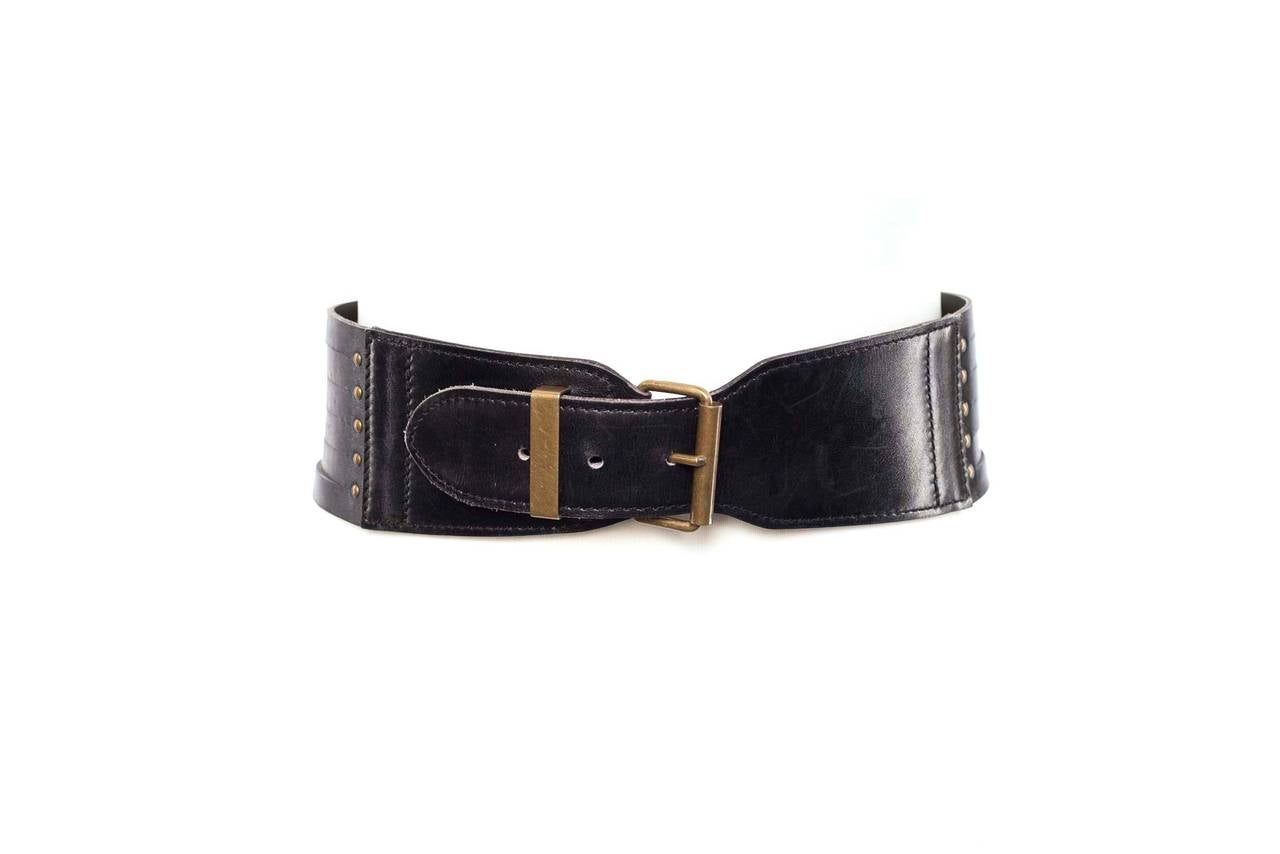 azzendine alaia leather strapped cinch belt