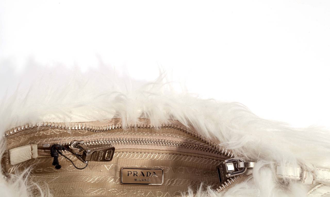 Prada White Faux Fur Clutch Bag at 1stdibs