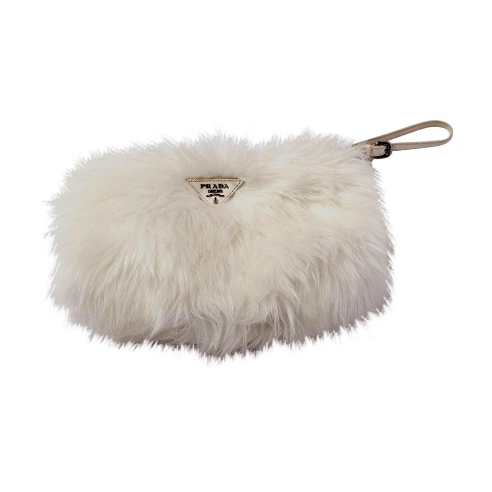 Prada White Faux Fur Clutch Bag at 1stdibs