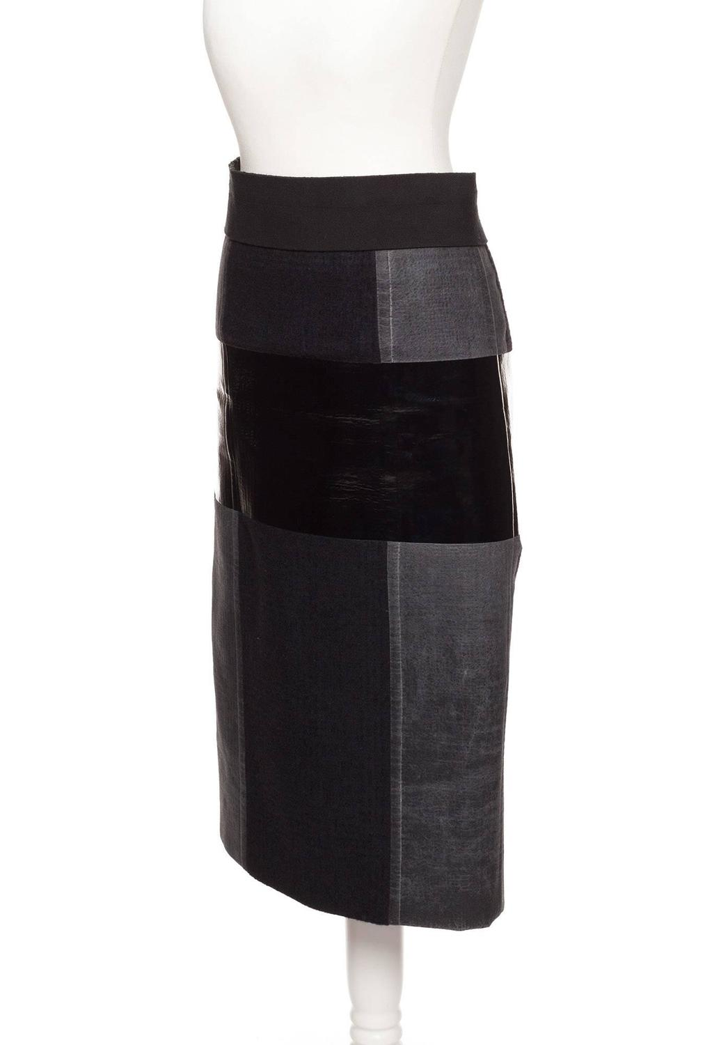 calvin klein skirt with leather and pvc color blocked