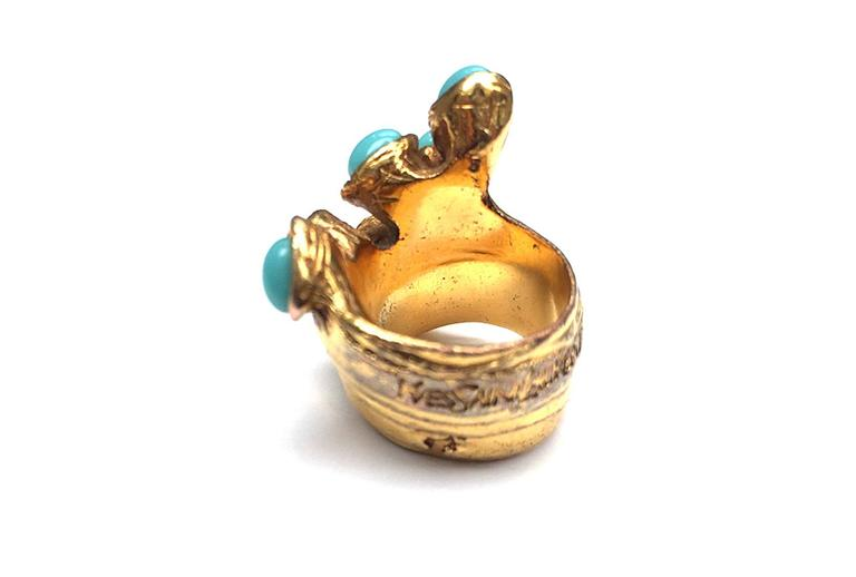 Yves Saint Laurent by Stefano Pilati gold ring w ...