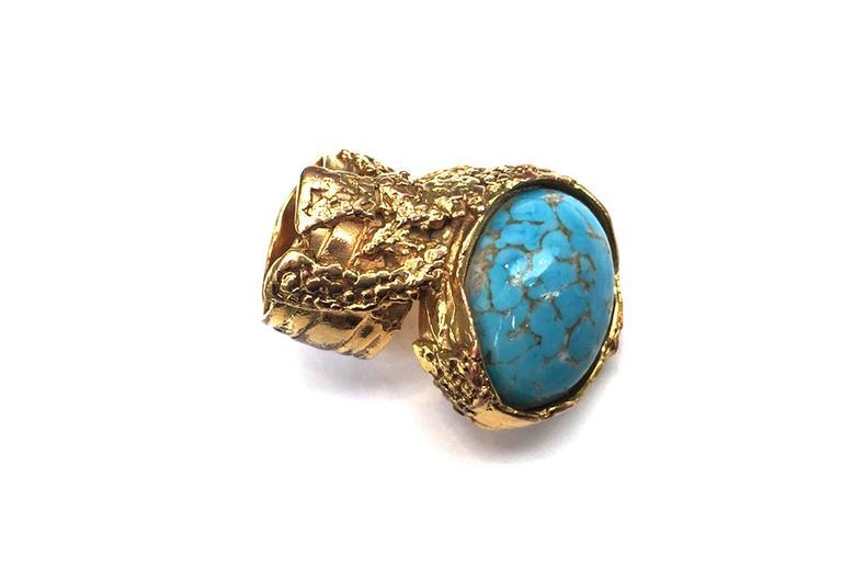 Yves Saint Laurent by Stefano Pilati gold ring w. turquios ...