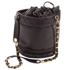 1990's Chanel Quilted Bucket Bag with classic gold chain