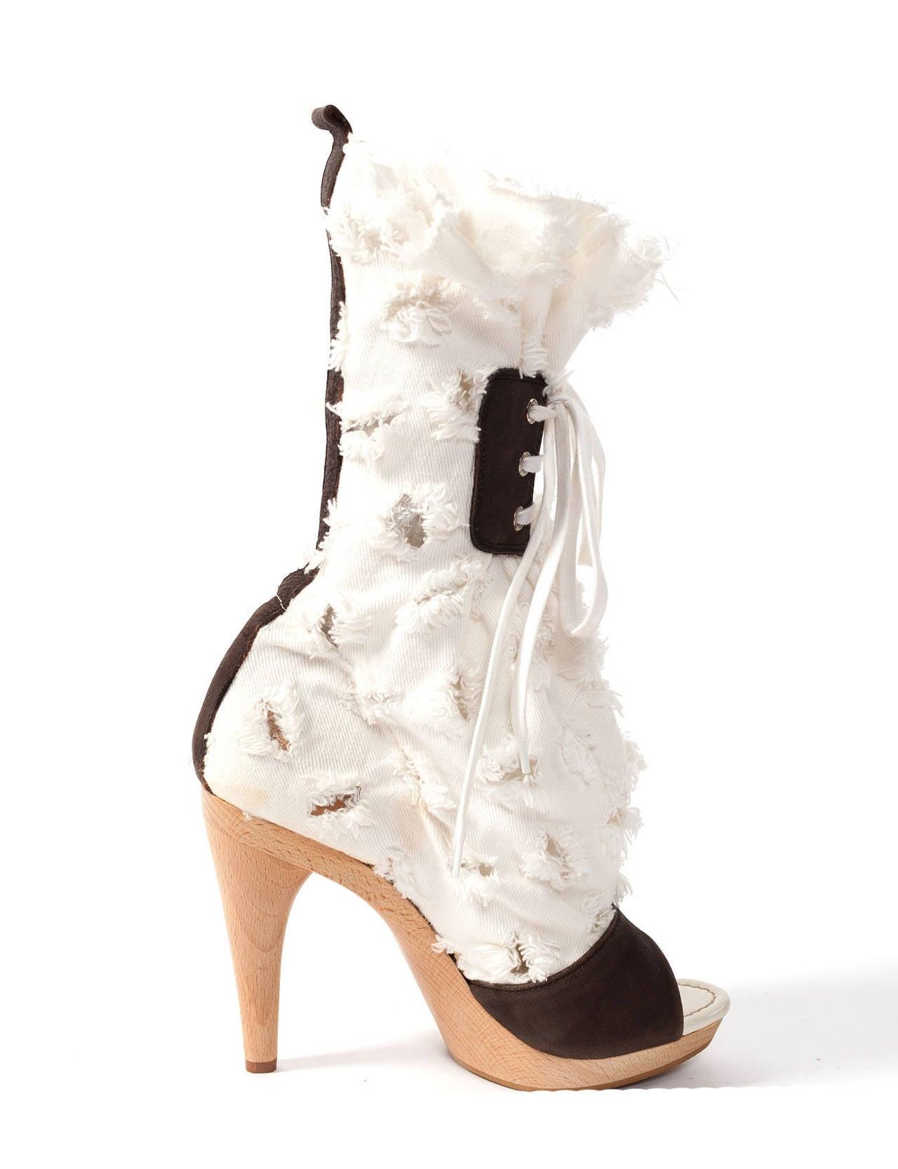 vivienne westwood white shredded high heels sz 6 5