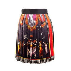 Versace Couture Vintage Canova silk velvet print pleated mini skirt