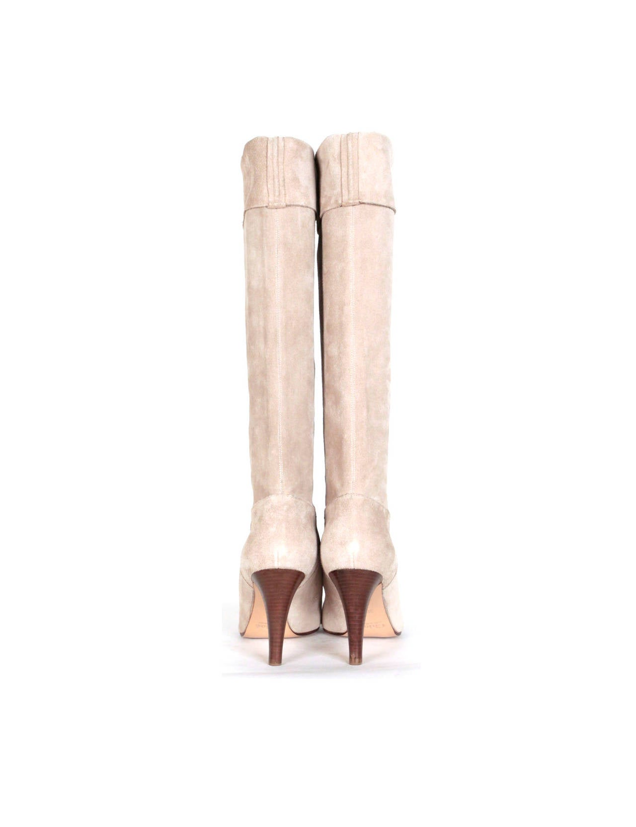 knee high boots in eggshell suede with fold flap at