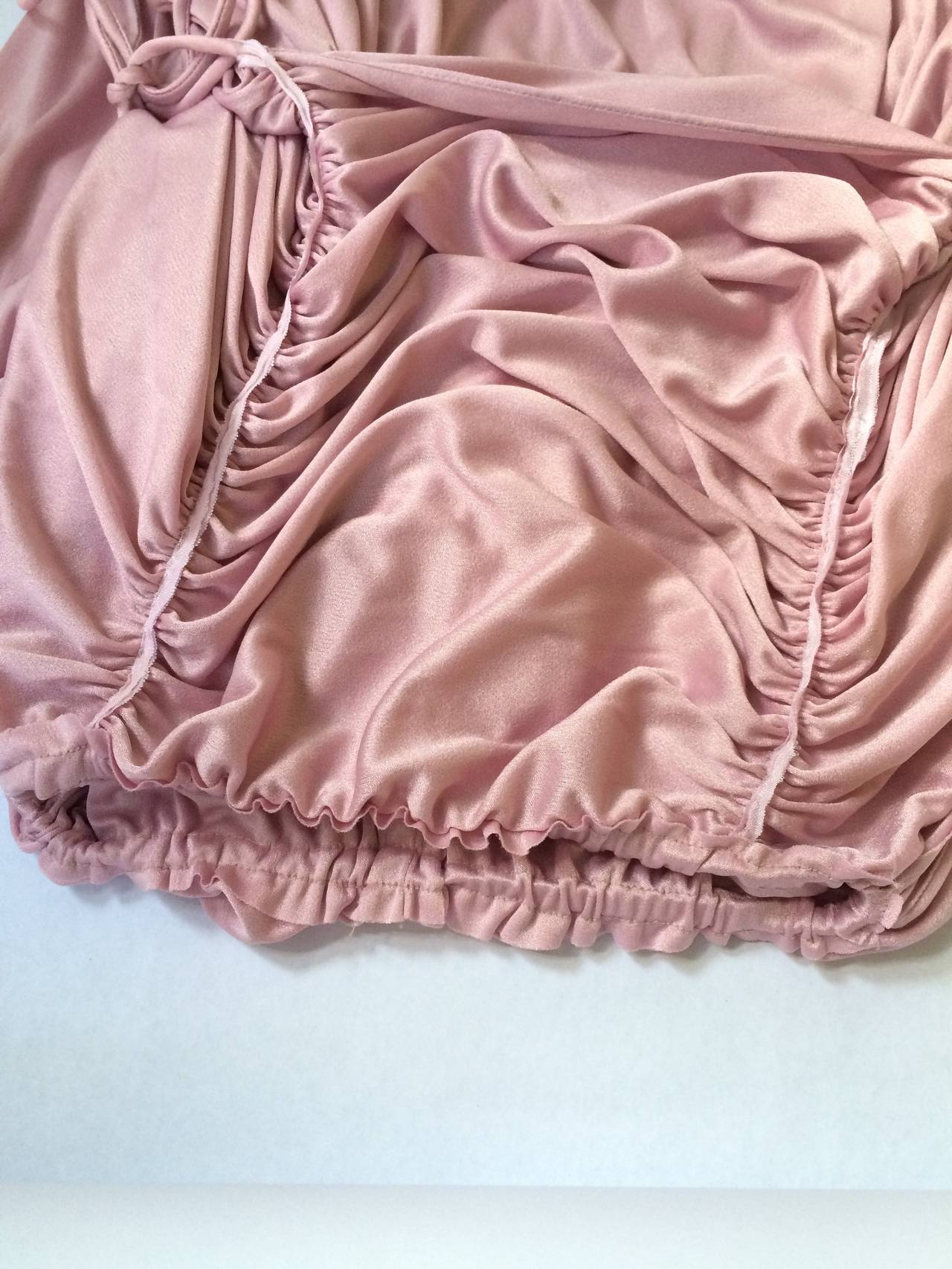 Joy Stevens 70s ruched spagetti straps gown. 8