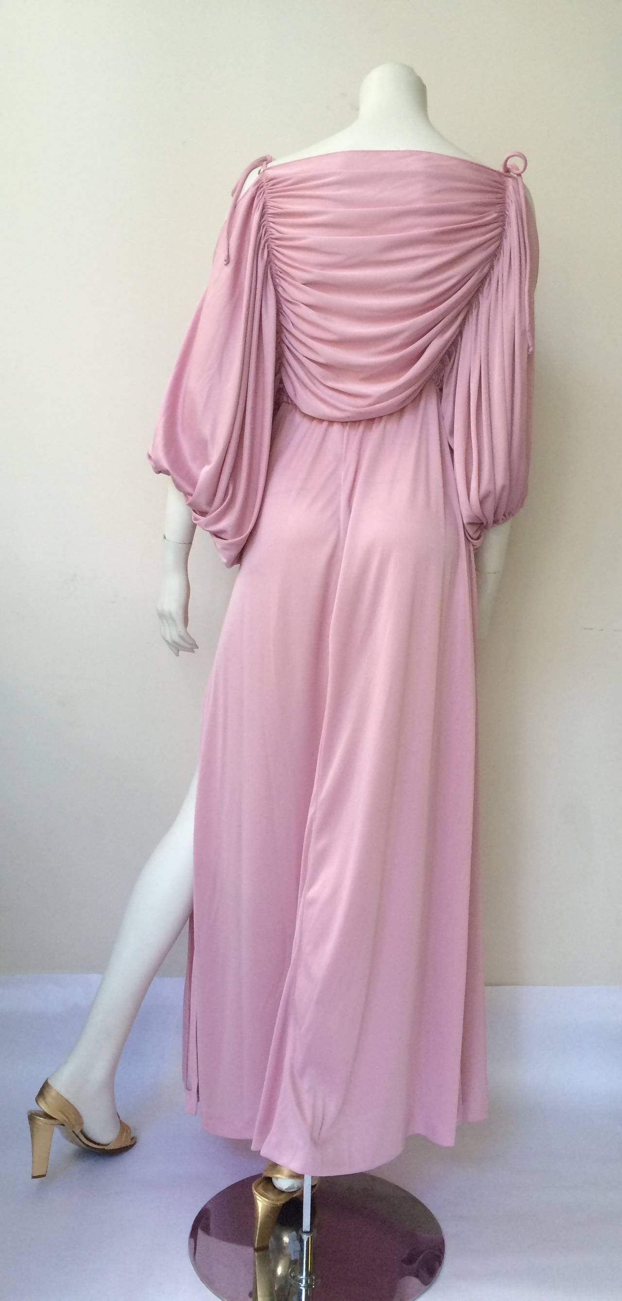 Joy Stevens 70s ruched spagetti straps gown. 6