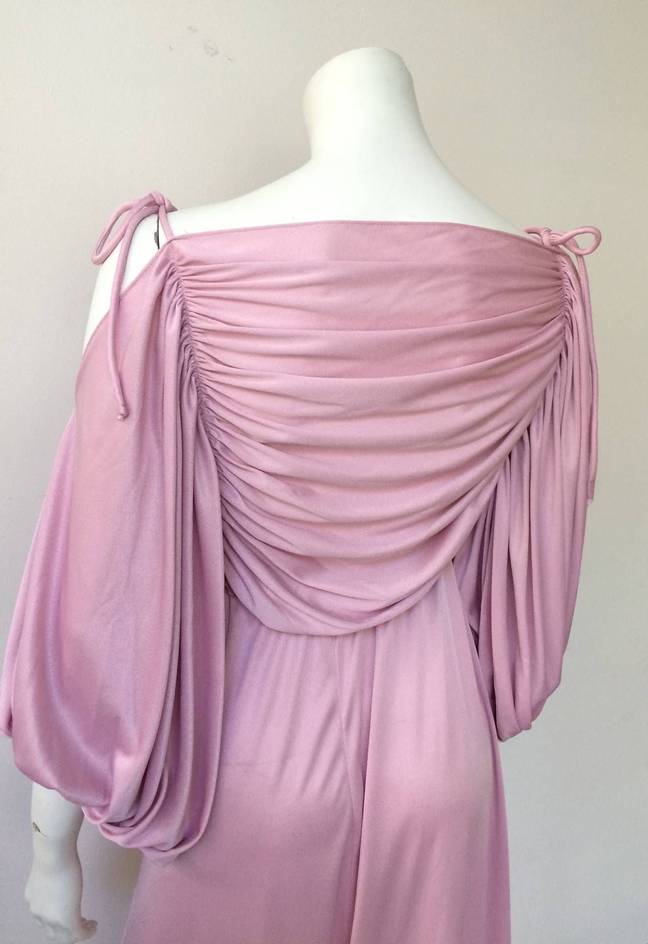 Joy Stevens 70s ruched spagetti straps gown. 7