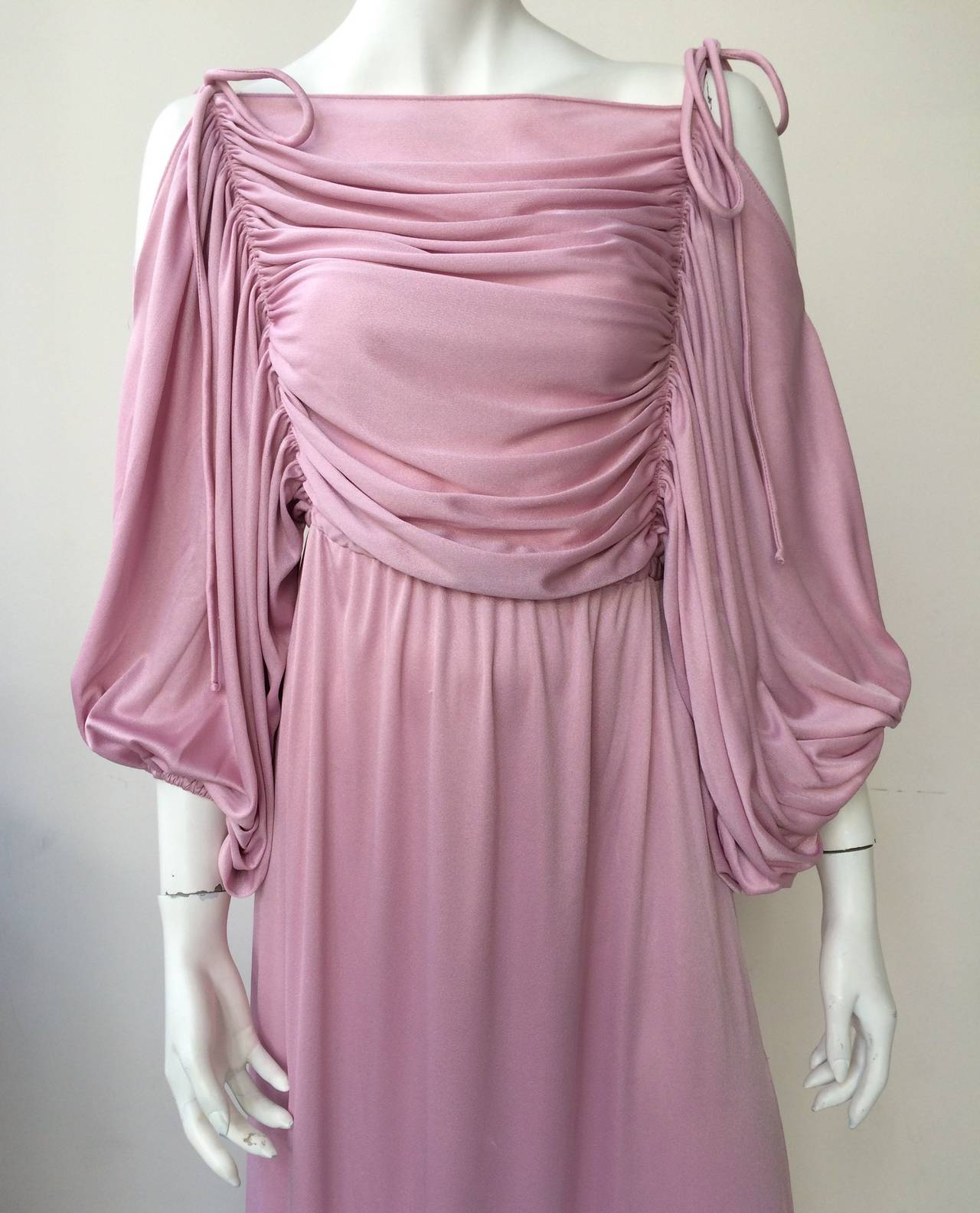 Joy Stevens 70s ruched spagetti straps gown. 2