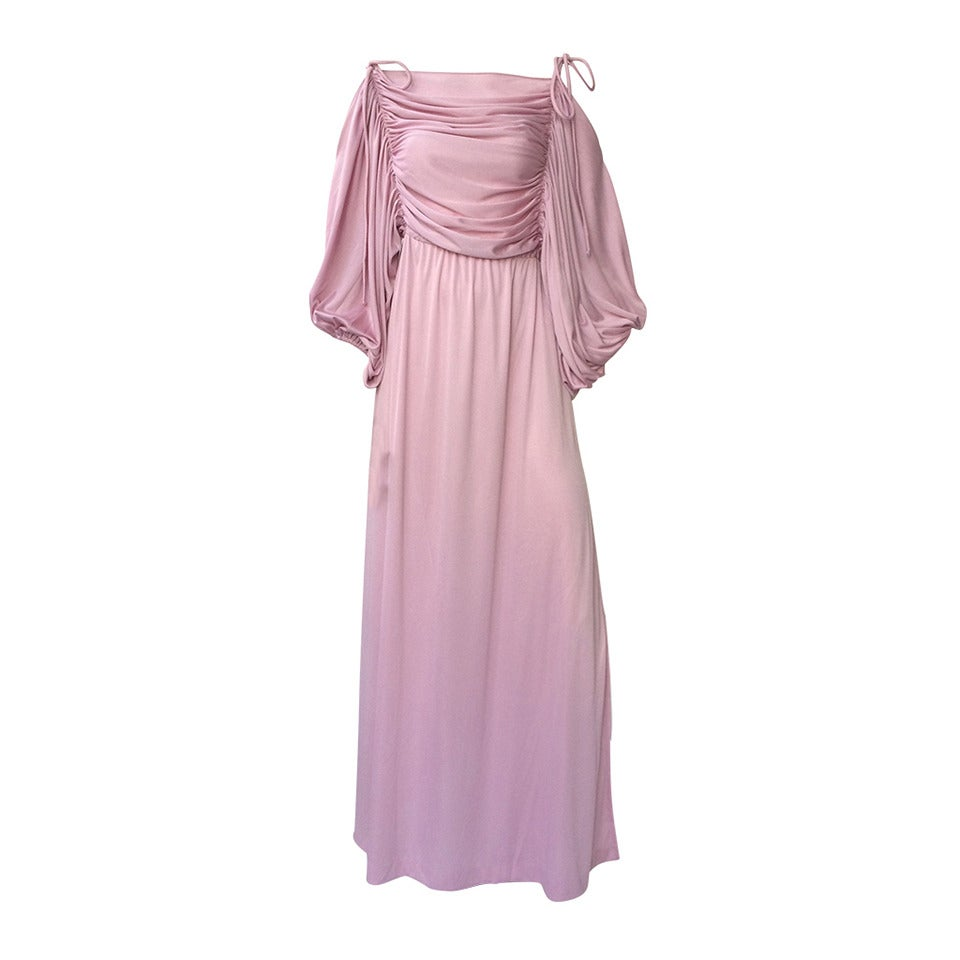 Joy Stevens 70s ruched spagetti straps gown. 1