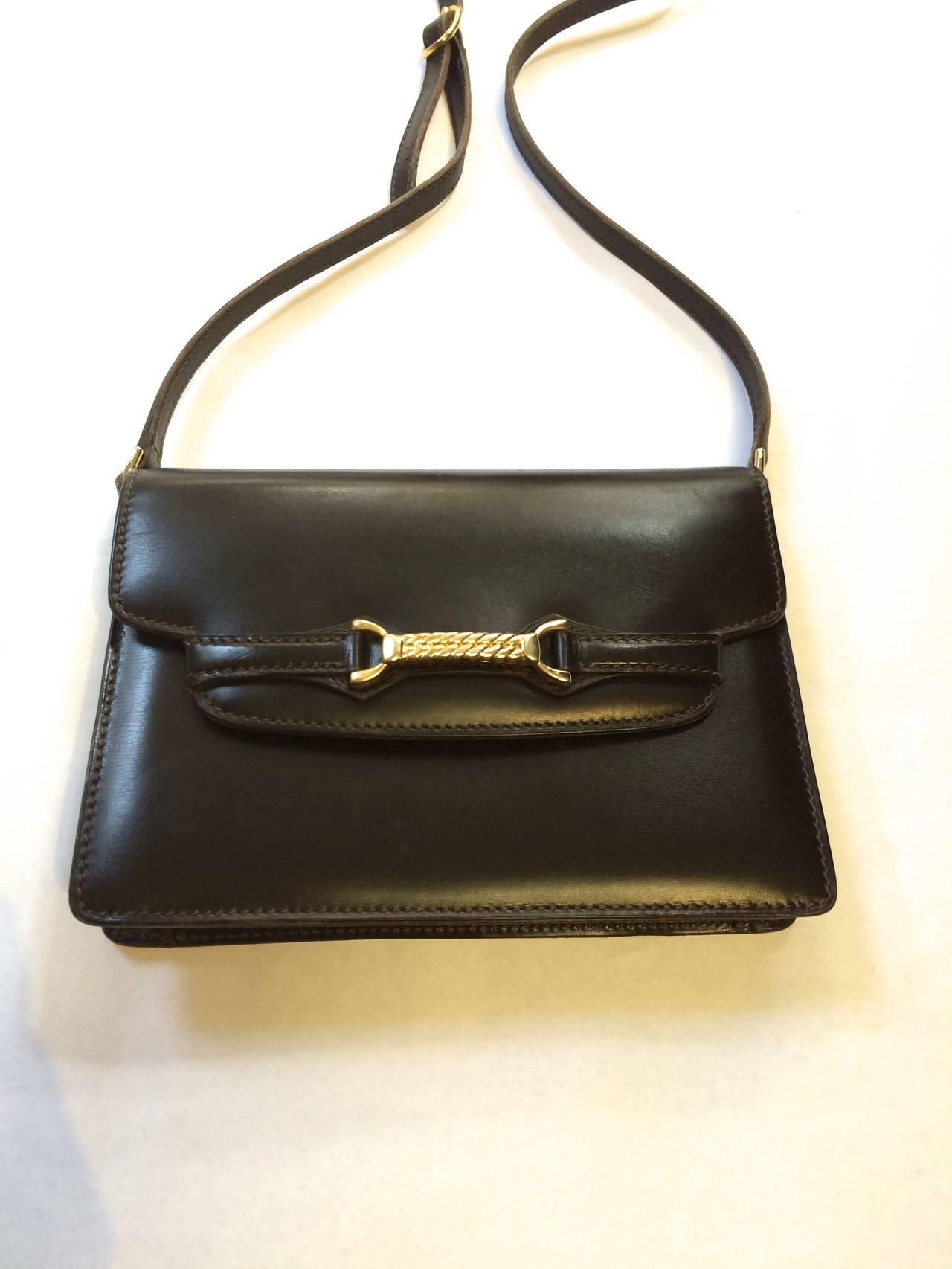 Charles Jourdan 70s Brown Leather Shoulder / Clutch Handbag lSWHnEUGC