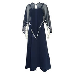 Estevez 70s Navy Evening Gown Size 10 / 12.