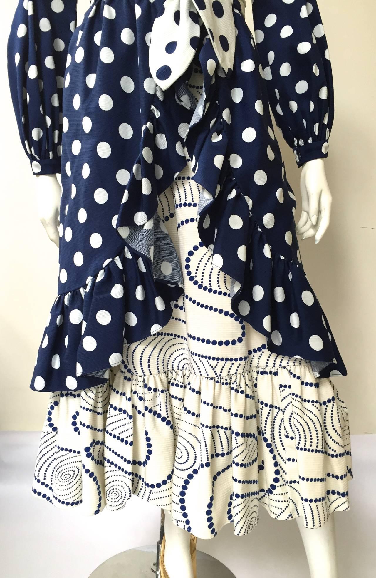 Black Oscar de la Renta 1970 polka dot Harper's Bazaar dress cover size 4. For Sale