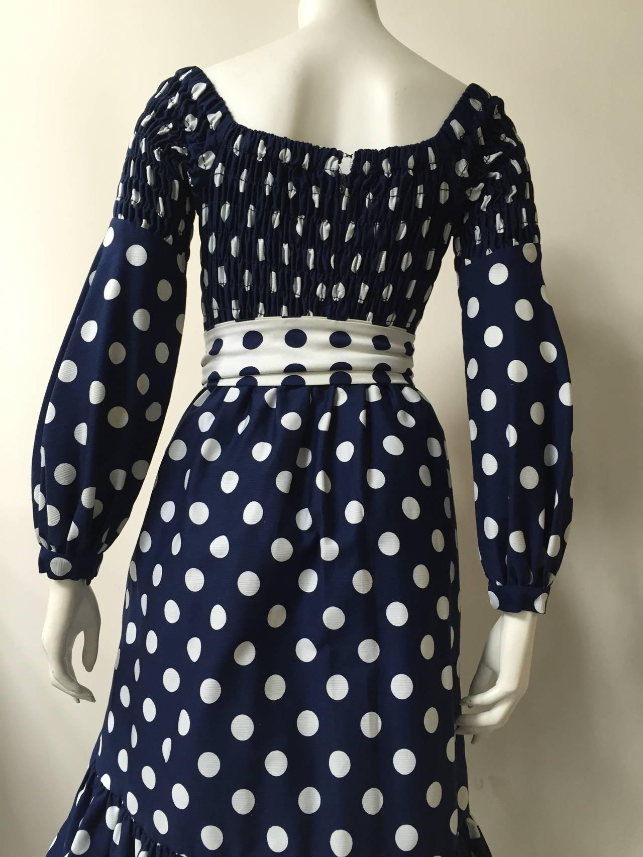 Oscar de la Renta 1970 polka dot Harper's Bazaar dress cover size 4. For Sale 1